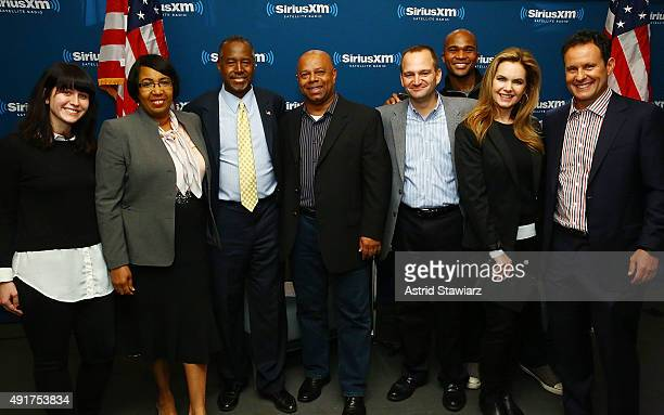 Candy Carson Presidential candidate Dr Ben Carson David Webb Victoria Osteen and Brian Kilmeade pose for photos at SIRIUS XM Studio on October 7 2015...