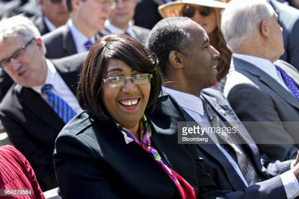 Candy Carson wife of Housing and Urban Development Secretary Ben Carson smiles while attending the National Day of Prayer ceremony in the Rose Garden...