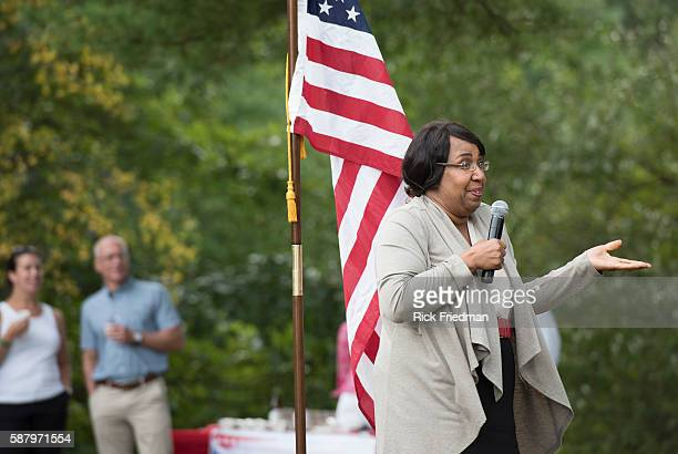 Candy Carson wife of Republican presidential candidate Ben Carson campaigning at the Stafford County GOP Barbecue and Beer Bash in Dover NH NH on...