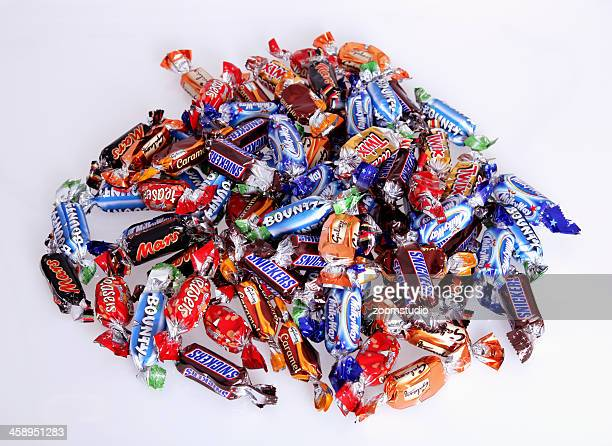 candy collection - candy wrapper stock photos and pictures