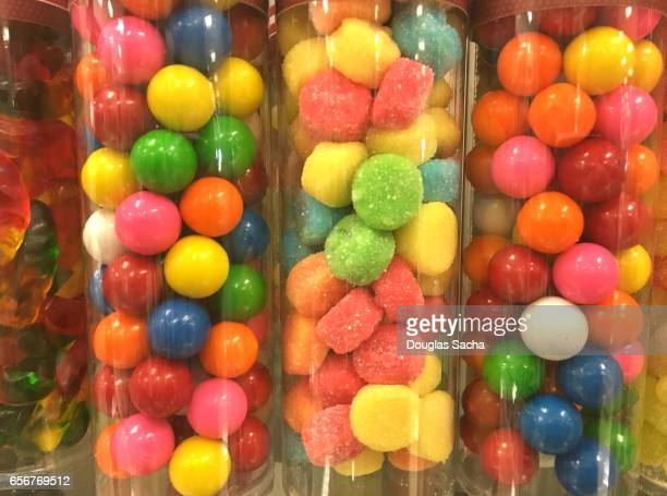 candy display with a colorful variety - candy factory stock pictures, royalty-free photos & images