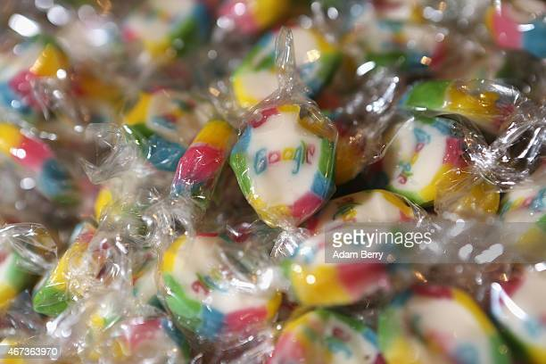 Candy featuring the Google logo is seen in the company's offices on March 23 2015 in Berlin Germany The world's largest Internet company whose...
