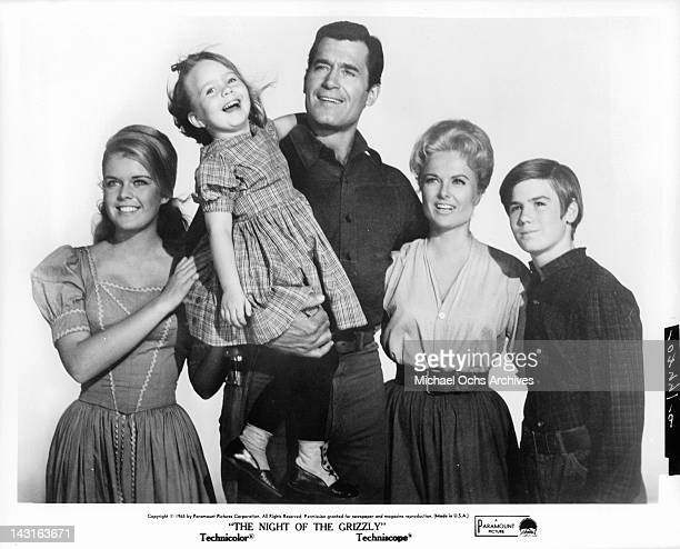 Candy Moore Victoria Paige Meyerink Clint Walker Martha Hyer and Kevin Brodie in a publicity portrait from the film 'The Night Of the Grizzly' 1966