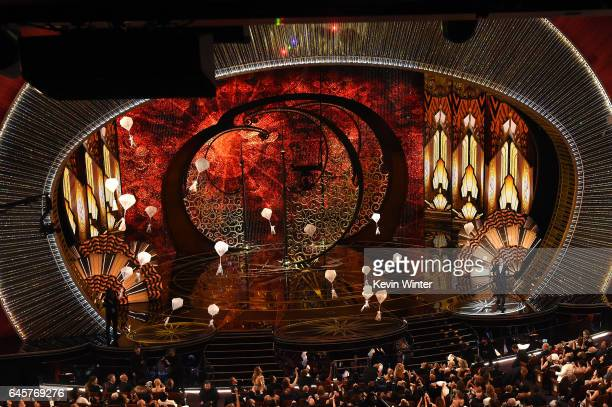 Candy parachutes fall from the ceiling during the 89th Annual Academy Awards at Hollywood Highland Center on February 26 2017 in Hollywood California