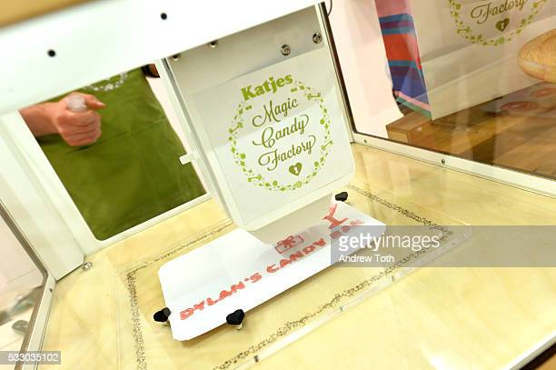 A 3D candy printer is seen during Dylan's Candy Bar exclusively launches first 3D printed candy in the US with Katjes Magic Candy Factory on May 19...