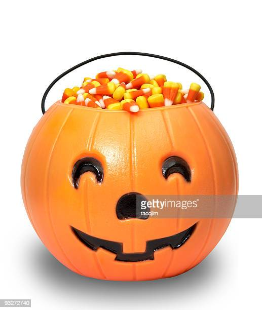candy pumpkin (clip path) - candy corn stock photos and pictures
