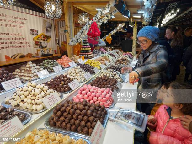 Candy stall in a Budapest Christmas Market.