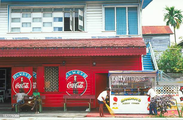 candy store with coka-cola sign georgetown, guyana - guyana stock pictures, royalty-free photos & images