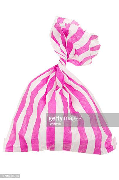 candy striped sweet bag - sweet food stock pictures, royalty-free photos & images