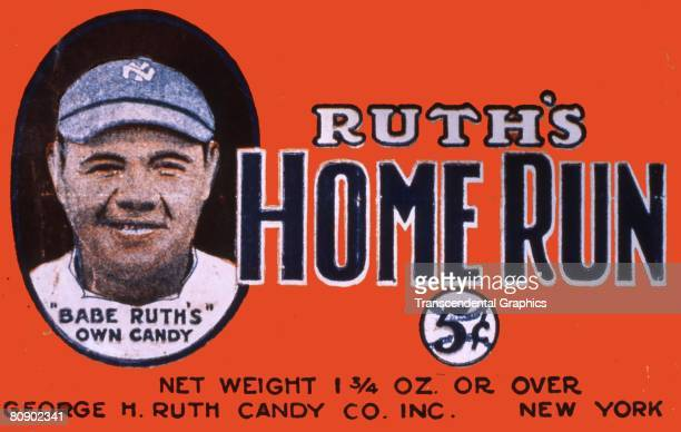 Candy wrapper for Ruth's Home Run candy bar showing a color portrait of a smiling Babe Ruth with text stating Babe Ruth's Own Candy The candy bar...