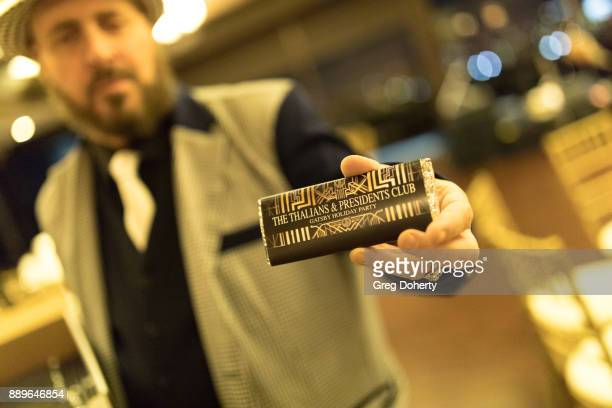 Candyman Frank Sheftel displays his custom chocolate bars at The Thalians Hollywood for Mental Health Holiday Party 2017 at the Bel Air Country Club...