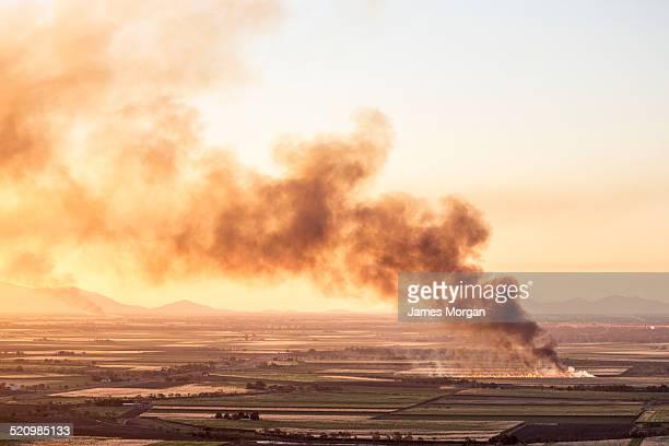 Cane fires burning in Queensland, Australia.