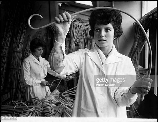 A cane used for corporal punishment in schools is tested by factory worker Mrs Edith Hook in Hayward's Heath England | Location Hayward's Heath...