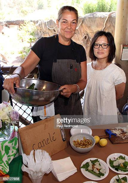Canele restaurant coowners chef Corina Weibel and manager Jane Choi attends the Greater Los Angeles Zoo Association's Beastly Ball Fundraiser Menu...