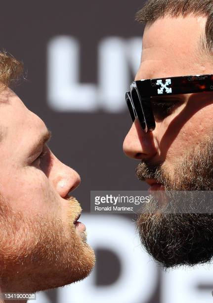 Canelo Alvarez and Caleb Plant during a face-off before a press conference ahead of their super middleweight fight on November 6 at The Beverly...