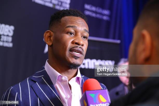 Canelo Alvarez and Daniel Jacobs address members of the media at teh Hard Rock Cafe during their press conference on February 27, 2019 in New York...