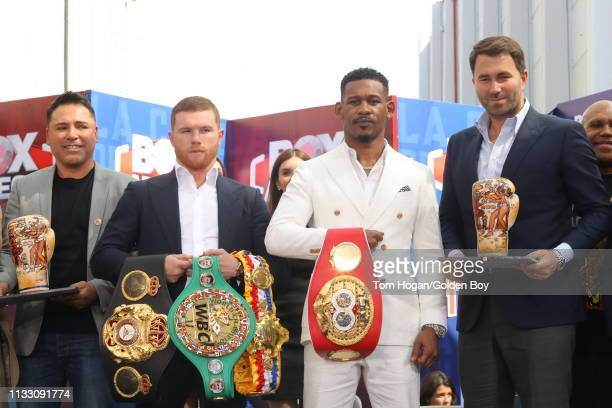 Canelo Alvarez and Daniel Jacobs attend a press conference for their fight on March 1, 2019 in Mexico City.