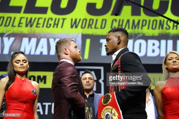 Canelo Alvarez and Daniel Jacobs attend a press conference on March 4, 2019 in Los Angeles, California. Alverez and Jacobs will fight for the...