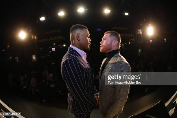 Canelo Alvarez and Daniel Jacobs pose at the Hard Rock Cafe at the press conference for their fight on February 27, 2019 in New York City.