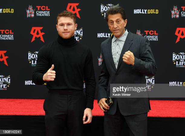 Canelo Alvarez and Elie Samaha attend the Hand and Footprint Ceremony for boxer Canelo Alvarez at TCL Chinese Theatre on March 20, 2021 in Hollywood,...