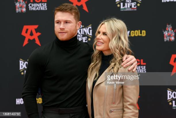 Canelo Alvarez and Ellen K attend the Hand and Footprint Ceremony for boxer Canelo Alvarez at TCL Chinese Theatre on March 20, 2021 in Hollywood,...