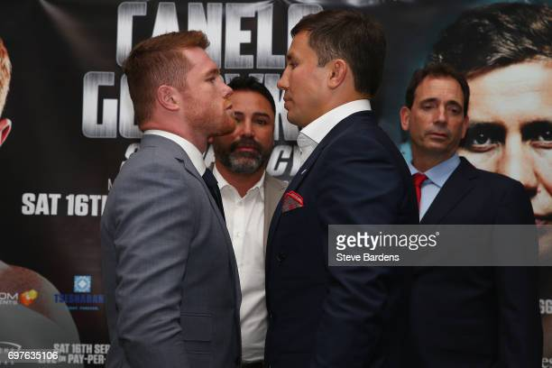 Canelo Alvarez and Gennady Golovkin go head to head after the Canelo Alvarez vs Gennady Golovkin boxing press conference at the Landmark Hotel on...