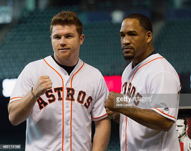 Canelo Alvarez and James Kirkland pose during a press conference for their fight scheduled for May 9th at Minute Maid Park on March 3 2015 in Houston...