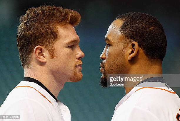 Canelo Alvarez and James Kirkland square off during a press conference for their fight scheduled for May 9th at Minute Maid Park on March 3 2015 in...