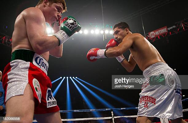 Canelo Alvarez and Josesito Lopez square off during their WBC super welterweight title fight at MGM Grand Garden Arena on September 15 2012 in Las...