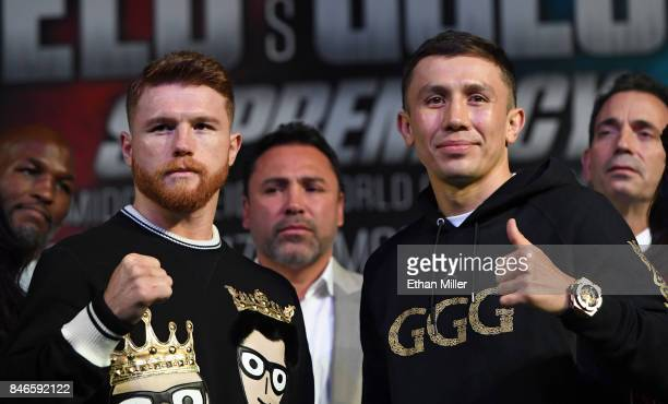 Canelo Alvarez and WBC WBA and IBF middleweight champion Gennady Golovkin pose during a news conference at MGM Grand Hotel Casino on September 12...
