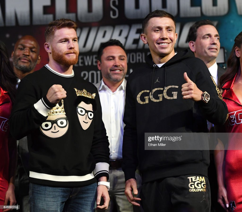 Canelo Alvarez (L) and WBC, WBA and IBF middleweight champion Gennady Golovkin pose during a news conference at MGM Grand Hotel & Casino on September 12, 2017 in Las Vegas, Nevada. Golovkin will defend his titles against Alvarez at T-Mobile Arena on September 16 in Las Vegas.