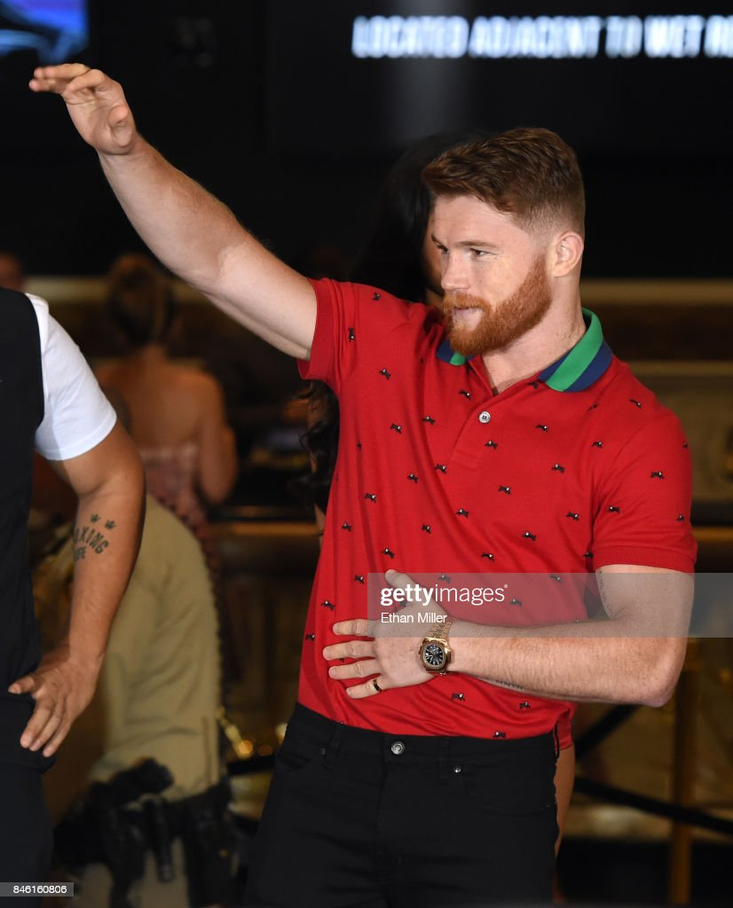 Canelo Alvarez arrives at MGM Grand Hotel & Casino on September 12, 2017 in Las Vegas, Nevada. Alvarez will challenge WBC, WBA and IBF middleweight champion Gennady Golovkin for his titles at T-Mobile Arena on September 16 in Las Vegas.