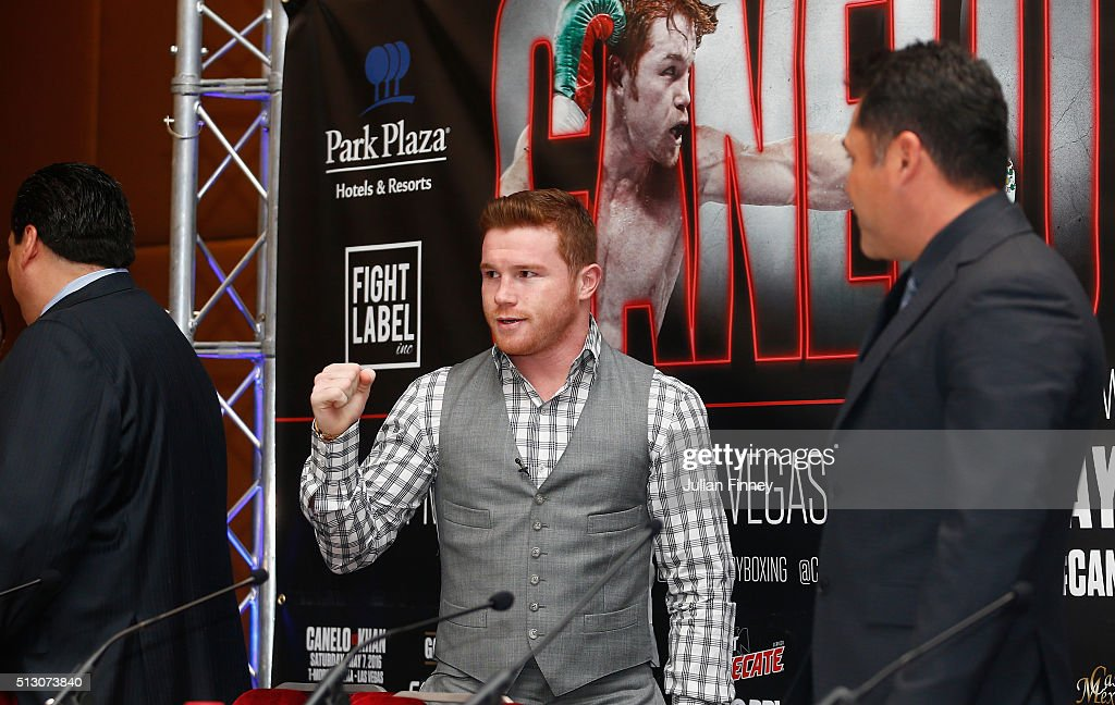 Canelo Alvarez arrives during a press conference to preview the fight between Amir Khan and Canelo Alvarez at the Park Plaza Riverbank Hotel on February 29, 2016 in London, England.