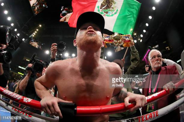 Canelo Alvarez blows kisses to his family after his unanimous decision win over Daniel Jacobs in their middleweight unification fight at TMobile...