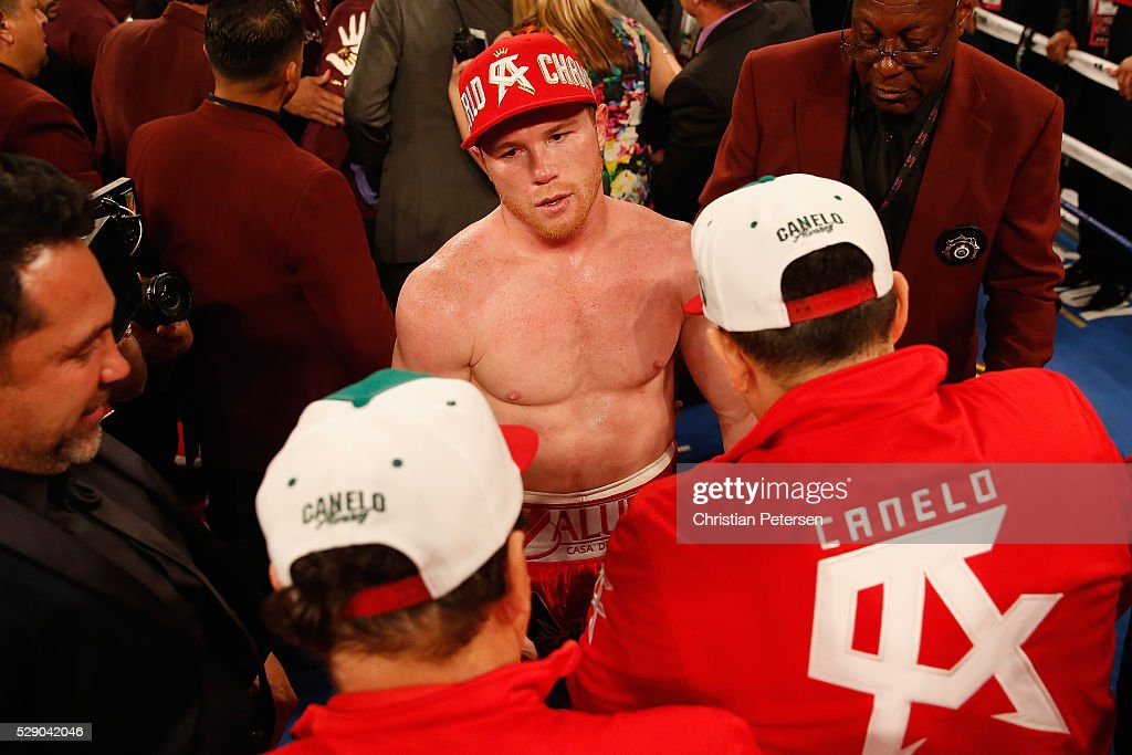 Canelo Alvarez celebrates after his knockout win over Amir Khan during the WBC middleweight title fight at T-Mobile Arena on May 7, 2016 in Las Vegas, Nevada.
