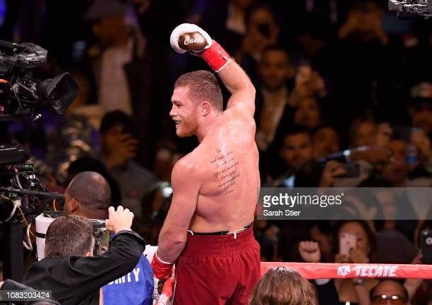 Canelo Alvarez celebrates after technical knock out of Rocky Fielding in their WBA Super Middleweight title bout at Madison Square Garden on December...