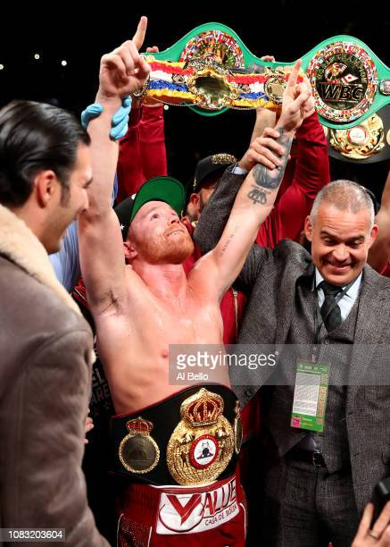 Canelo Alvarez celebrates after the technical knock out of Rocky Fielding in their WBA Super Middleweight title bout at Madison Square Garden on...