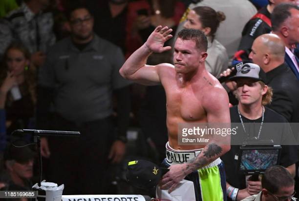 Canelo Alvarez celebrates his 11th-round knockout of Sergey Kovalev to win their WBO light heavyweight title fight at MGM Grand Garden Arena on...