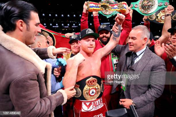 Canelo Alvarez celebrates his third round tko against Rocky Fielding during their WBA super middleweight title fight at Madison Square Garden on...