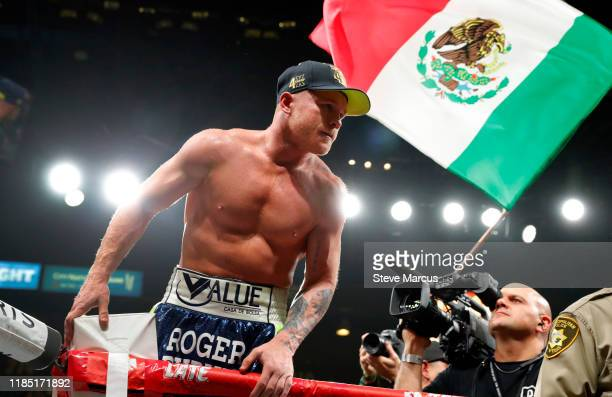 Canelo Alvarez celebrates his victory over Sergey Kovalev after their WBO light heavyweight title fight at MGM Grand Garden Arena on November 2, 2019...