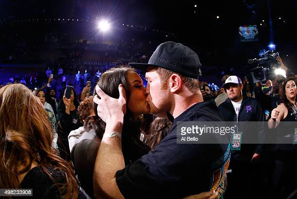 Canelo Alvarez celebrates with Nelda Sepulveda after defeating Miguel Cotto by unanimous decision in their middleweight fight at the Mandalay Bay...
