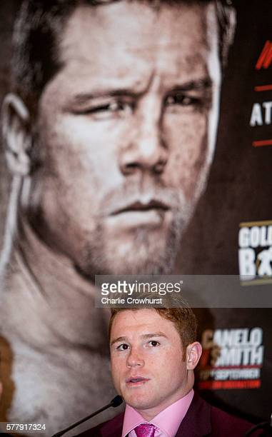 Canelo Alvarez chats to the media during the Canelo Alvarez vs Liam Smith boxing press conference at The Landmark Hotel on July 20 2016 in London...