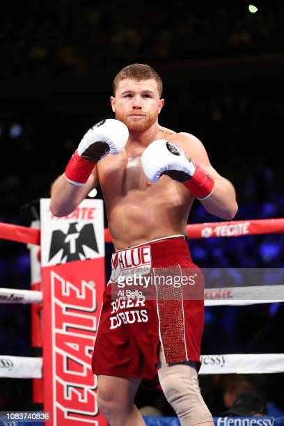 Canelo Alvarez comes out of his corner to fight Rocky Fielding during their WBA super middleweight title fight at Madison Square Garden on December...