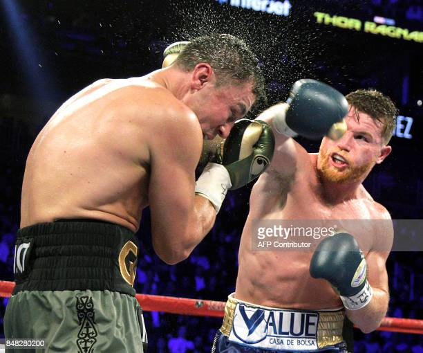 Canelo Alvarez connects against Gennady Golovkin during their WBC WBA and IBF middleweight championship fight at the TMobile Arena on September 16...