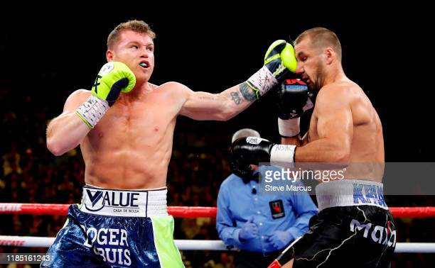 Canelo Alvarez connects on Sergey Kovalev during a WBO light heavyweight title fight at MGM Grand Garden Arena on November 02, 2019 in Las Vegas,...