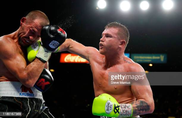 Canelo Alvarez connects on Sergey Kovalev during their WBO light heavyweight title fight at MGM Grand Garden Arena on November 2 2019 in Las Vegas...
