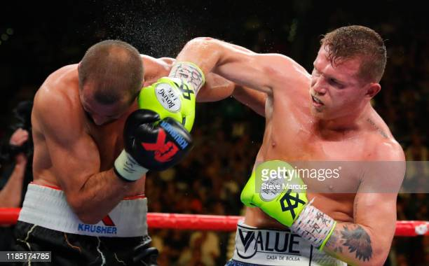 Canelo Alvarez connects with a punch on Sergey Kovalev during their WBO light heavyweight title fight at MGM Grand Garden Arena on November 2, 2019...