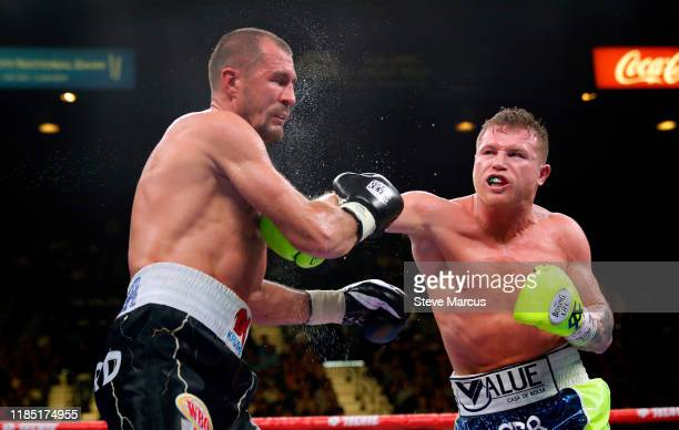 Canelo Alvarez connects with a punch on Sergey Kovalev during their WBO light heavyweight title fight on November 2, 2019 in Las Vegas, Nevada....