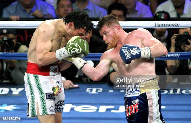Canelo Alvarez connects with a right uppercut against Julio Cesar Chavez Jr on May 6 2017 at the TMobile Arena in Las Vegas Nevada Saul 'Canelo'...