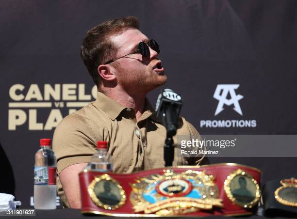 Canelo Alvarez during a press conference ahead of his super middleweight fight with Caleb Plant on November 6 at The Beverly Hilton on September 21,...